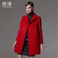 颜域品牌女装冬季新款欧美双排扣翻领中长款羊毛毛呢外套宽松大衣