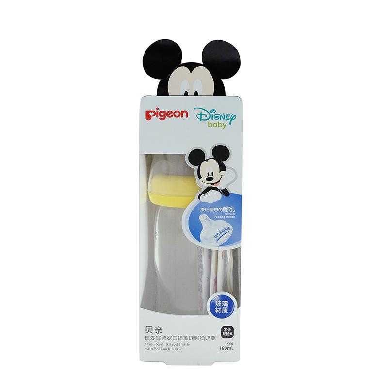 贝亲Disney宽口径玻璃奶瓶160ml配SS奶嘴(米奇宝宝-安睡) 全场特惠