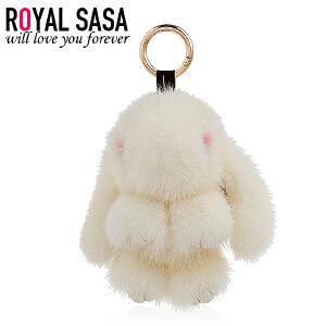 皇家莎莎装死兔挂坠饰品水貂毛呆萌可爱小兔子包包钥匙挂件配饰品