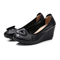 春秋款坡跟单鞋女甜美蝴蝶结妈妈鞋高跟皮鞋筋底软底工作鞋 黑色 (跟高7厘米)