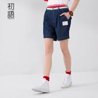 初语夏季新款 三年二班印花贴布宽松牛仔裤女8621835033
