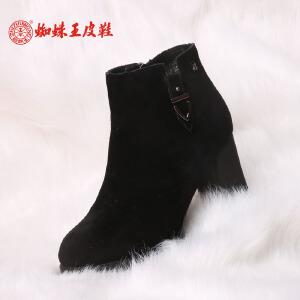 蜘蛛王女鞋 冬季新款圆头短靴女棉靴短筒粗高跟保暖加绒女靴子 潮