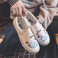 帆布鞋女鞋2019春季新款潮鞋厚底学生韩版百搭乐福鞋一脚蹬懒人鞋夏季百搭鞋