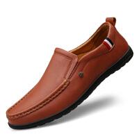 春季男鞋头层牛皮休闲皮鞋男潮韩版软面皮豆豆鞋一脚蹬懒人鞋子 37 标准皮鞋尺码 男款