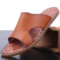 男士凉鞋夏季新款时尚沙滩鞋韩版真皮凉拖鞋一字拖户外穿拖鞋