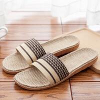 亚麻拖鞋男女夏季居家情侣拖鞋凉拖室内地板防滑客厅耐脏瑜伽拖鞋