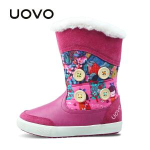 UOVO新款冬季新款儿童雪地靴中大女童保暖棉靴子中筒靴 纳维亚