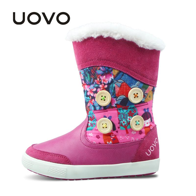 UOVO新款冬季新款儿童雪地靴中大女童保暖棉靴子中筒靴 纳维亚【每满100立减50 上不封顶 支持礼品卡】