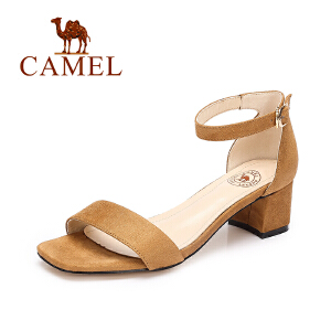camel骆驼女鞋 夏季新款 时尚气质露趾高跟凉鞋一字扣粗跟绒面凉鞋