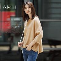 AMII[极简主义]秋冬新款纯色圆领套头宽松短款大码针织毛衣女