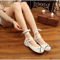老北京女布鞋单鞋民族风绣花鞋坡跟增高舞蹈鞋白复古风汉服鞋子