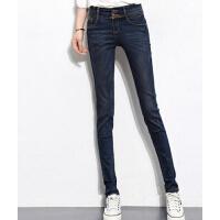 韩版女士时尚显瘦小脚裤 高腰紧身排扣牛仔裤长裤 修身弹力铅笔裤