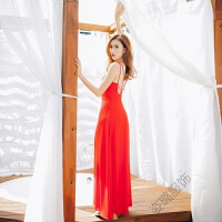 夏季性感露背吊带连衣裙波西米亚红色长裙海边度假女神沙滩裙 红色