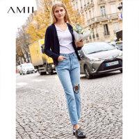 【预估价160元】Amii极简超火心机设计感毛针织衫女2019秋季新款V领镂空开衫上衣