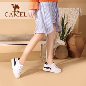 Camel/骆驼女鞋 2018春季新款 韩版平底单鞋系带休闲鞋 内增高小白鞋女