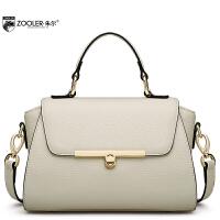 朱尔牛皮女包新款OL气质手提包纯色简约时尚斜挎包女夏