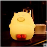 便携房间卧室夜灯充电声控感应拍拍灯床头台灯硅胶小夜灯可爱猪闹钟灯