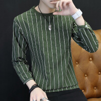 男士t恤长袖韩版潮流圆领打底衫上衣2018秋季新款竖条纹卫衣薄款