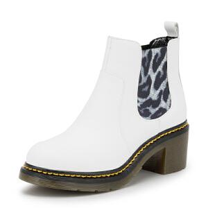 【3折到手价149.7元】索菲娅Safiya冬季牛皮革圆头高跟休闲褶皱松紧带短靴女SF54117015