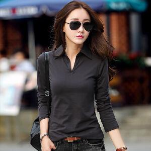 春秋新款女装打底衫韩版修身大码显瘦衬衫领上衣纯棉V领长袖女t恤WK0821