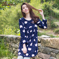 顶瓜瓜睡衣女士珊瑚绒面料可爱猫咪印花圆领长袖秋冬新品睡衣睡裙