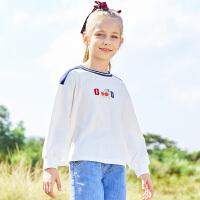 【2件7折到手价:95】小猪班纳童装女童长袖T恤上2021春季新款儿童撞色棉体上衣中大童