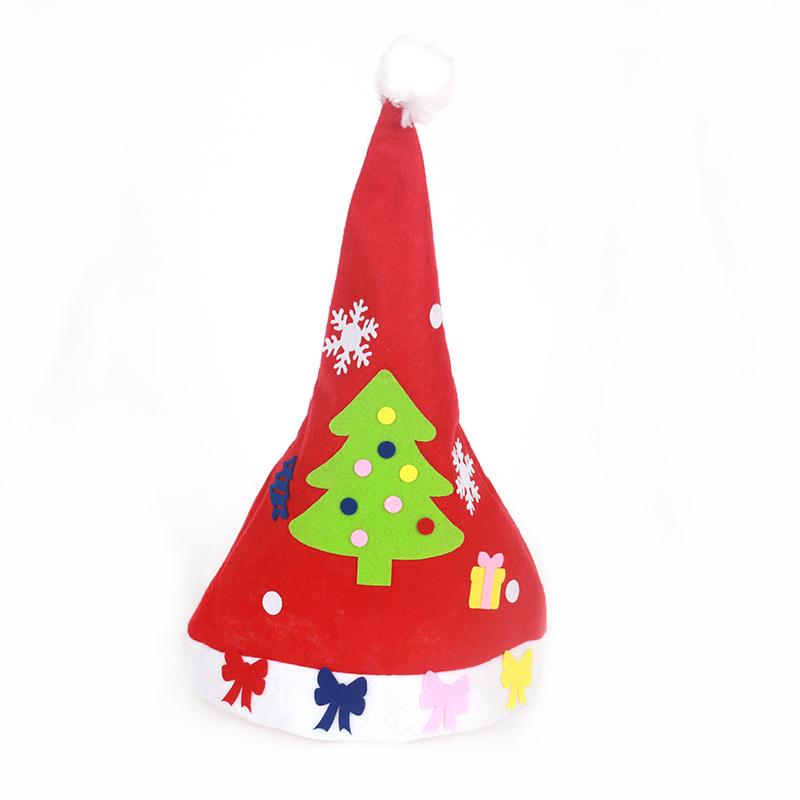 袜子装饰品圣诞节袜子幼儿园手工制作橱窗装饰袜子_圣诞帽材料包 松树