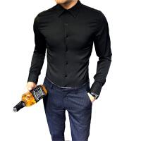 男士长袖衬衫韩版修身纯色职业正装白衬衣商务发型师休闲寸衫潮流