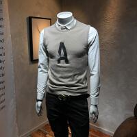 秋冬男士毛衣假两件衬衫领针织衫潮韩版休闲个性青年衬衣领打底衫