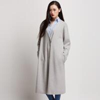 秋冬女装2016新款女大衣中长款V领暗扣针织长款风衣女外套长过膝
