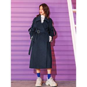 七格格羊毛呢外套女中长款韩版2018新款冬季时尚学生过膝呢子大衣