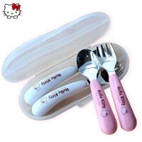 hello kitty不锈钢勺叉二件套装学生卡通勺子儿童便携小孩餐具盒
