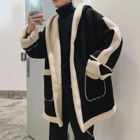 加厚棉衣男士2018新款韩版潮流羊羔毛风衣棉袄宽松中长款冬天外套