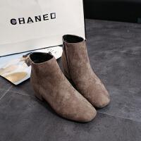 东遇 春秋磨砂时尚短靴加绒中跟短筒单靴方头裸靴粗跟女靴子冬