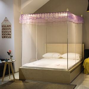 蚊帐双开门拉链坐床式方顶1.2/1.5米1.8m床蒙古包蚊帐双人单人款