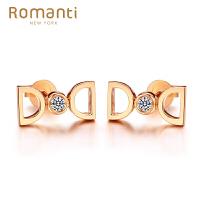 Romanti/罗曼蒂玫瑰18K金钻石耳钉女款钻石耳钉耳环耳坠耳饰需定制
