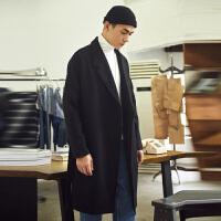 [2.5折价259元]唐狮呢子大衣男中长款潮流大衣韩版呢大衣冬季加厚风衣男外套