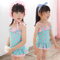 可爱波点儿童连体泳衣女孩 韩版女童裙式宝宝游泳装备童中大童连体游泳衣