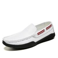 白色潮男鞋英伦风豆豆鞋男韩版潮流男士休闲鞋小白鞋透气皮鞋男 38 标准皮鞋码
