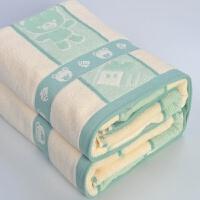 棉加厚毛巾毯单人双人老式毛巾被纯棉秋冬厚床单午睡毯子盖毯 宝宝熊 浅绿
