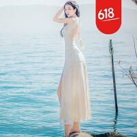 原创泰国潮牌性感露背蕾丝显瘦开叉连衣裙马尔代夫蜜月沙滩度假长裙仙GH04 白色