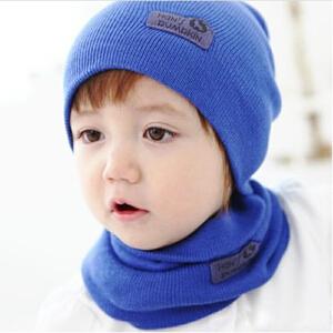 货到付款 Yinbeler婴儿帽子新生儿秋冬季毛线帽护耳糖果色套头帽+围脖套装宝宝针织帽围巾两件套