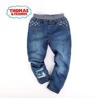【一件5折】托马斯正版童装男童春装小火车印花中童松紧腰裤子牛仔裤长裤