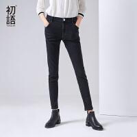 初语 秋季新品 橡筋腰身显瘦黑色牛仔裤