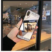 苹果xs max手机壳网红个性IPhone xs奢华水钻镜子x新款苹果6s潮镶钻苹果7plus玻璃苹 镜面水钻 xr