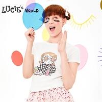 【2件5折:90】安莉芳旗下LUCIE亲子装圆领短袖卡通印花T恤纯棉家居上衣NL0411Z