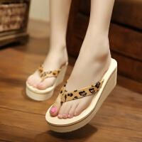 夏季时尚高跟厚底人字拖鞋女士坡跟松糕凉拖鞋沙滩鞋夹拖外穿拖鞋