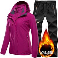 冲锋衣裤套装男秋冬季加厚户外男装套装登山冲锋衣女可拆卸两件套