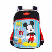米奇男童��包 迪士尼TGMB0212小�W生背包 休�e旅行包 黑�t�p肩包