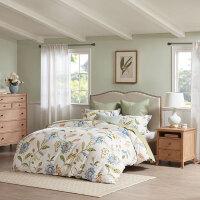 全棉磨毛四件套纯棉家纺床上用品1.8米1.5被套床单 本白/蓝色